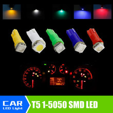 20pcs/lot Car Interior LED light T5 1 SMD 5050 led Dashboard Car Vehicle Light Bulb Yellow/Blue/green/red/white car light source(China)