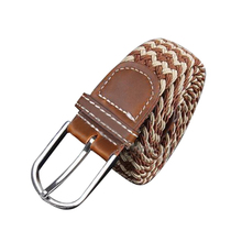 Male Female Belt Buckle Canvas Leather Belt Strap Waistband Elastic Coffee Beige