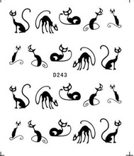 1sheets Nail Stickers 3d Designs Hot Nail Art Water Transfer Black Cat Sexy Decals Temporary Tattoos Nail Art Tips Tools TRD243
