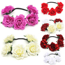 Bohemian Women Ladies Handmade Bride Floral Crown Red Rose Flower Headband Hair Garland Festival Wedding Hair Accessories