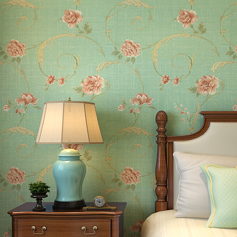 American Style Vintage Rustic Green Floral Wallpaper Roll  Non Woven 3D Vine Flower Bedroom Wall Paper for Walls contact paper<br>