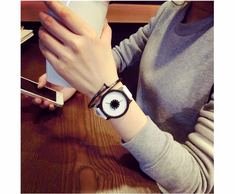 Hot fashion creative watches women men quartz-watch BGG brand unique dial design minimalist lovers' watch leather wristwatches 23