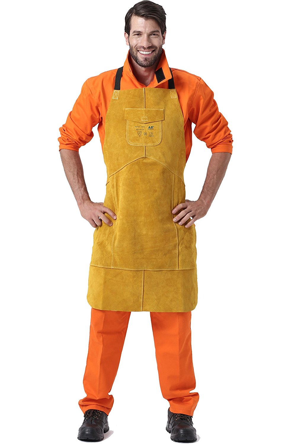 Welding Apron Premium Leather Welder Protect Clothing Carpenter Blacksmith Gardening Work Cowhide Clothing 95X56CM Golden Color<br>