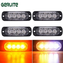 Newest 4PCS 4 Led Strobe Warning Light Amber Strobe Emergency Grille Flashing Lightbar Truck Car Beacon Slim Bright Car-Styling(China)