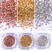 Metal Nail Sequins Powder Dust Shining Gold/Silver/Champagne Glitter Tips 3g/Box Manicure DIY Nail Art Decoration