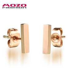 New Product Hot Fashion Women's Charm Jewelry Simple Rectangle Rose Gold Color Stainless Steel Stud Earring Woman Gifts LGE314