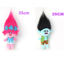 Discount 2pcs /set 35cm Poppy Action Figure Dreamworks Movie Trolls Toy Plush Trolls Figures Magic Fairy Hair Wizard Kids Toys(China)