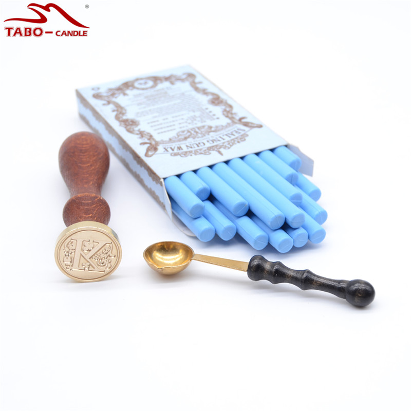 Light Blue Sealing Wax Sticks 16 Pcs/box with Melting Spoon and Rosewood Letter Stamp for DIY Manuscripting Envelope Decoration<br>