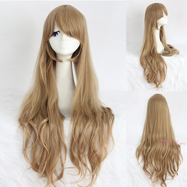 Free Shipping 80CM Synthetic Hair Long Curly Wavy Light Brown Cosplay Wig Young<br><br>Aliexpress