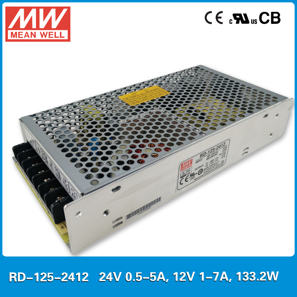 Original Mean well RD-125-2412 133.2W 24V 12V Dual output Meanwell Power Supply input 85-264VAC CB UL CE approved<br>
