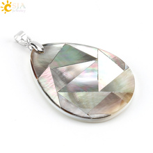 CSJA New Women Shell Splice Jewelry Natural Abalone Paua Chip Raw Material Puzzle Pendant for Necklace Water Drop Pendants E482(China)