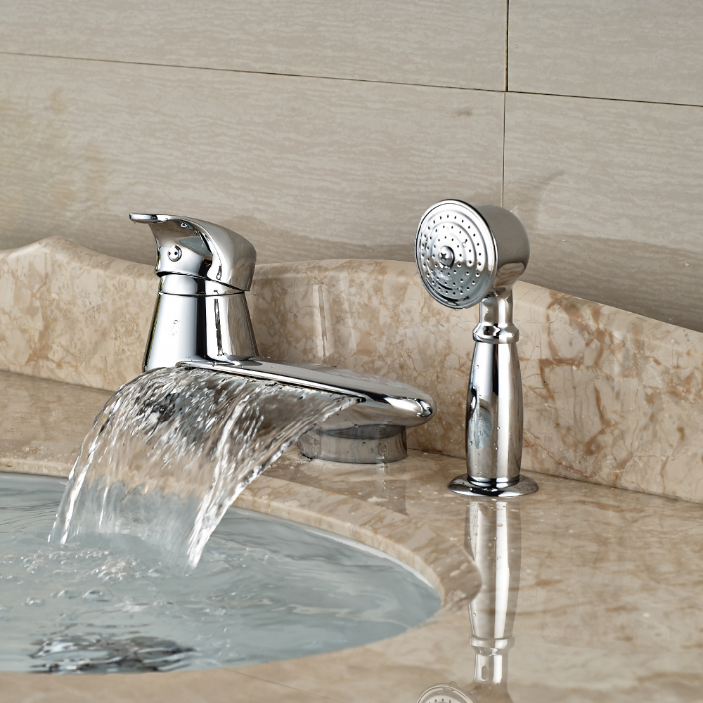 2016 Fashion Waterfall Bathtub Mixer Faucet with Brass Handshower Deck Mount 3 Hole Tub Faucet Taps<br><br>Aliexpress