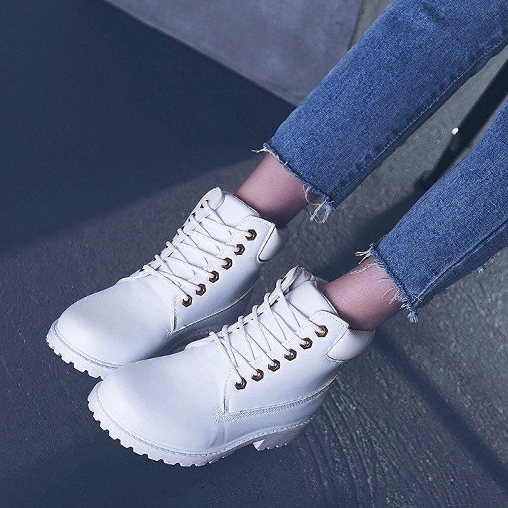 Szyadeou Women Ladies Round Toe Lace-up Faux Boots Ankle Casual Martin Shoes botas mujer invierno kozaki damskie schoenen 30 16