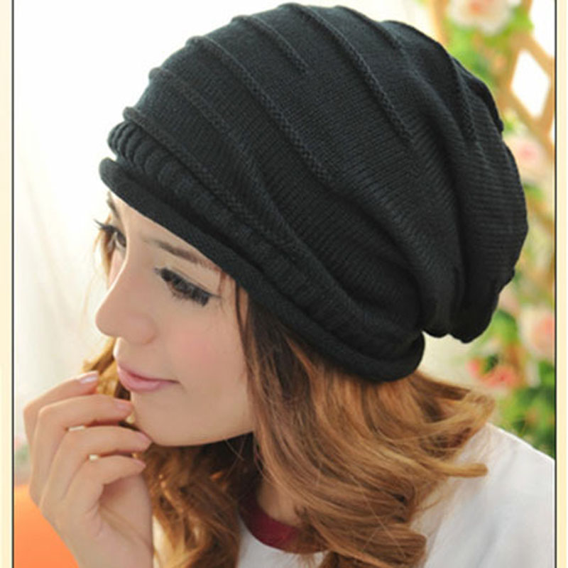 Fashion Women Men  Winter Hats Knit Plicate Slouch Cap Hat Knitted Skull Beanies Casual Hip-hop Knitted Hats 6 ColorsÎäåæäà è àêñåññóàðû<br><br><br>Aliexpress