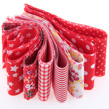 100*5cm 7pcs 100% Cotton Red Strips Tildas Roll Patchwork for Crafts Sewing Roll Set New Year Decoration Hair Accessories TX-1-2