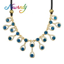 Newindy       Luxurious Jewelry Black Chain with Full Rhinestone Water Drop Design Collar Necklace Female