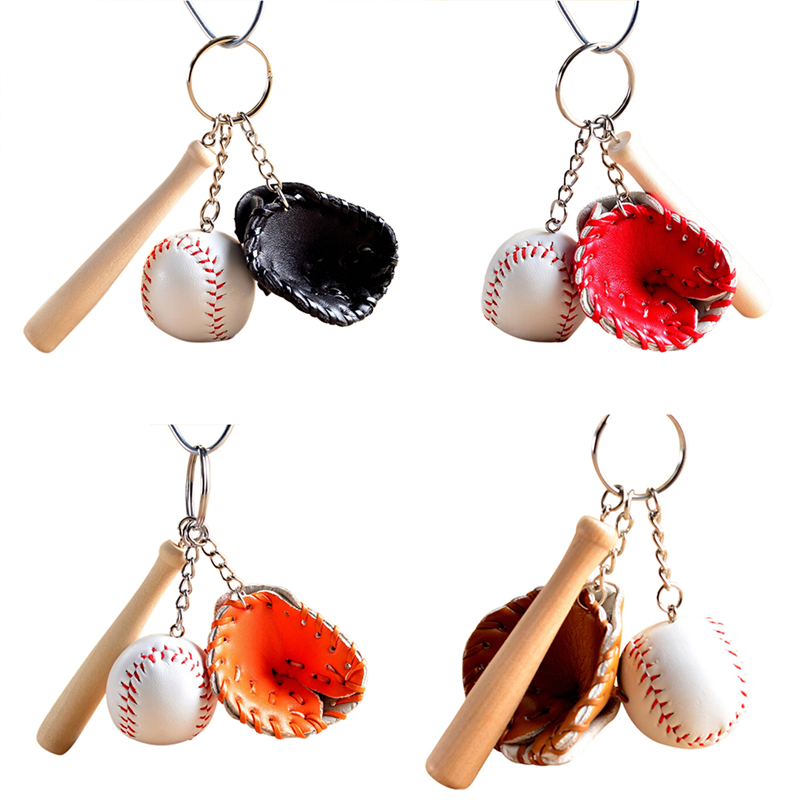 Fashion Sports Style Keychain Mini Three-piece baseball glove wooden bat keychain keyring fans souvenir  party gifts
