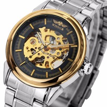 WINNER Top Brand Luxury Automatic Mechanical Watches Louvre Series Golden Metal Skeleton Dial Design T-WINNER Male Watches(China)