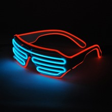 2017 Hot Sales EL Wire Neon LED Light Up Shutter Fashionable Glasses For Party Decoration With Flashing/Steady On EL Inverter