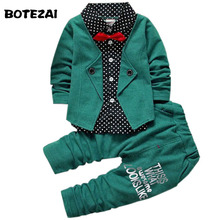 Kids Clothes Sets Spring Autumn Baby Boys Kids Long Sleeve Gentleman Suits Children tie shirt+Pants 2Ps Boys Clothes Christmas