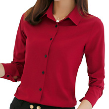 women blouse office shirt summer autumn long sleeve white pink red navy blue work wear korean formal tops female clothing(China)