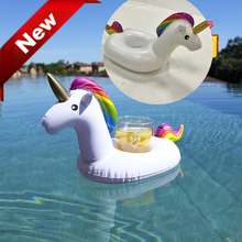 1pcs Mini Unicorn Inflatable Water Floating Cell Phone Drink Can Coke Cup Holder Stand Station Kids Adult Swimming Bath Pool Toy