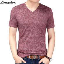 2017 New Male T shirt Solid V-neck T-shirt Men Casual original Men's T-shirts Slim Brand Homme T Shirts Clothing Summer t-shirts