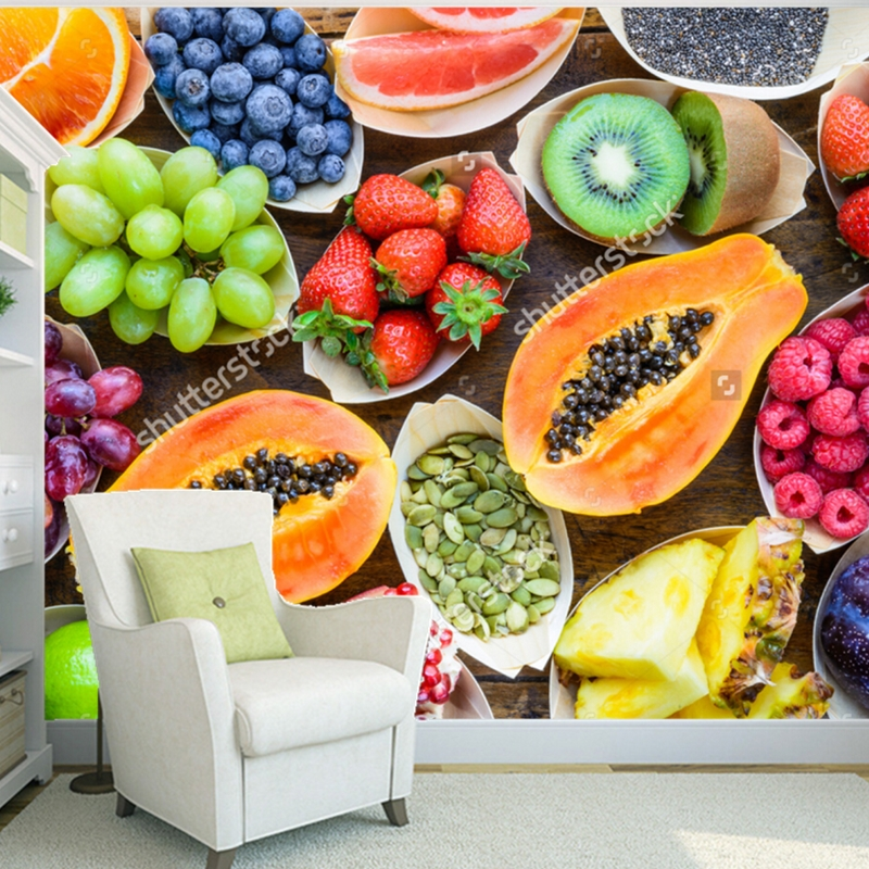 Fruit wallpaper,Fruits, berries, nuts, seeds top view on wood,3D photo mural for kitchen store restaurant wall silk wallpaper<br>