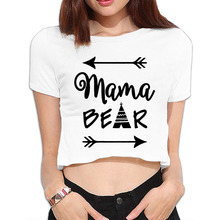 DUTRODU Mama Bear custom turtleneck O-neck 100% cotton youth belly top for street wear Girls Corp top Corp top(China)