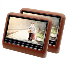 2 Pieces 9 Inch Car Headrest Monitor With 800x480 Screen Built-in Speaker Support USB SD DVD Player Games Remote Control Brown