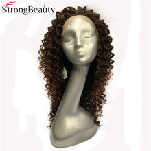 Strong Beauty Long Synthetic Wigs Brown Mix Curly Hairpiece Heat Resistant  Lace Front Wigs For Black Women