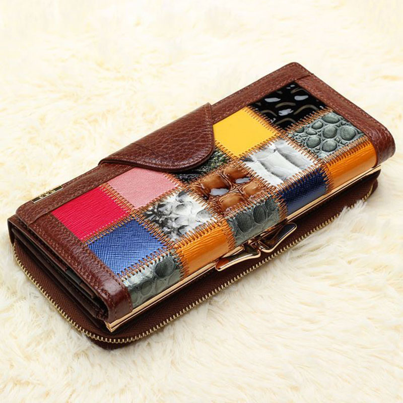 Cowhide Genuine Leather Wallets Punk Style Patchwork Womens Clutch Bag Multifunction Leisure Lady Wallet Plaid Coin Purse Bags<br>