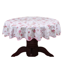 Pastoral Round Table Cloth PVC Plastic Table Cover Flowers Printed tablecloth Waterproof Home Party Wedding Decoration 152cm No5