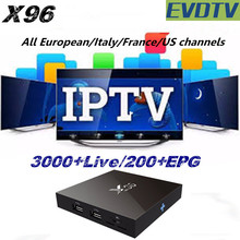 2017 Best iptv box X96 4k Android 6.0 iptv arabic tv box With 1 Year EVDTV iptv subscription European US internet indian tv box(China)