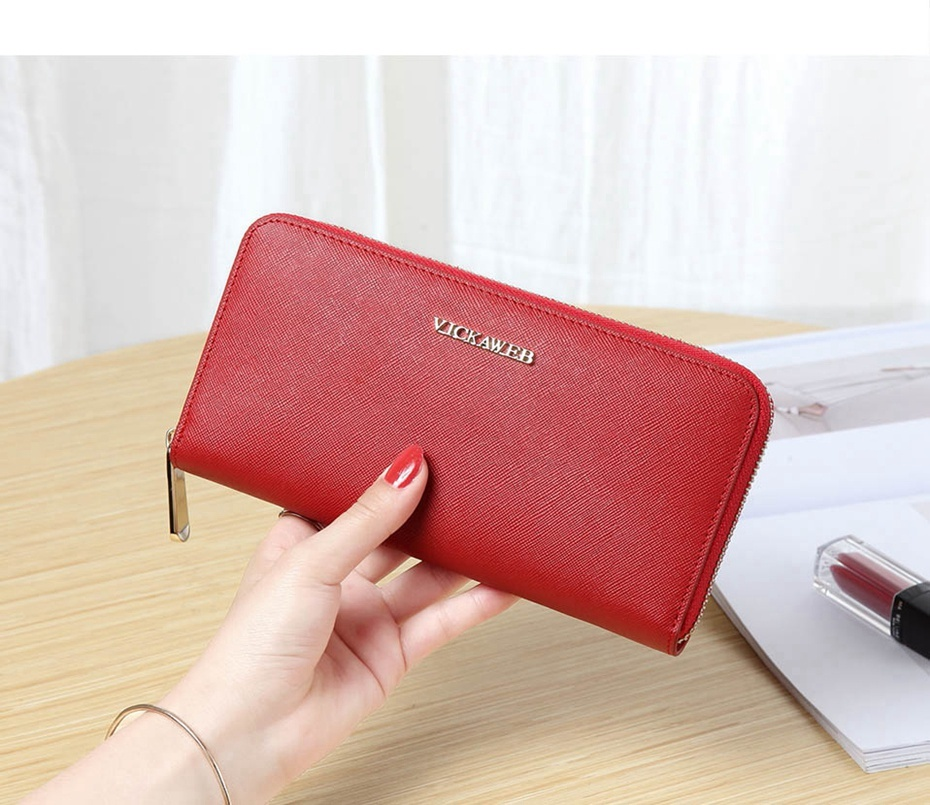 VICKAWEB Big Female Wallet Solid Women Wallets Genuine Leather Zipper Long Purses New Standard Wallets Fashion Ladies Purse 06-VICKAWEB06--009