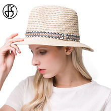 FS New 2017 Straw Hats For Women Men Panama Hat Summer Wide Brim Beach Sombreros Elegant Casual Black Sun Visor Chapeu Feminino(China)
