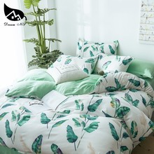 Dream NS Tropical Rainforest Banana Leaf Design Washed Cotton Bedding Set For Nordic Simple Cover Pillowcase Home Bedroom Living(China)