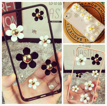 Buy Banjolu 3D DIY flower Case Bling Pearl Rhinestone Daisy Phone Case iPhone X 6 6s 6Plus 6sPlus 7 7Plus 8 8Plus Case Cover for $5.99 in AliExpress store