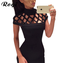 Rogi Mini Club Dress New 2017 Women Hollow Out  Summer Dresses Sexy Elegant Bandage Bodycon Dress Clubwear Vestido de Festa Robe