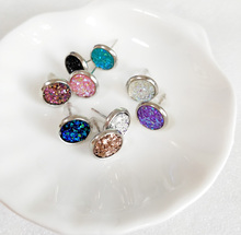 20prs/lot assort colors 8mm Rhodium color druzy earrings wholesale(China)