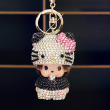 All Crystal Cartoon Hello Kitty Monchichi Key chain Key Ring Holder KT Cat Chaveiro Porte Clef Women Bag Car Pendant Key Chains(China)