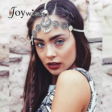 Joywish Bohemia Antique Silver Color Long Chain With Round Snowflake Headbands Hair Jewelry Hairwear For Women