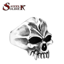 steel soldier Mens smile skull Punk cool fashion vintage ring for man jewelry biker men ring
