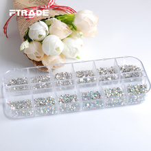 SS3-SS10 6 Sizes/Box Super Shiny Nail Art Decoration Glass Crystal 288Pcs/Size About Flatback Non Hotfix Rhinestones 3456Pcs/Box(China)
