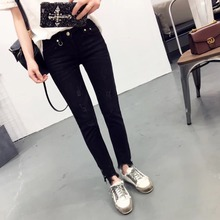 2017 Spring Fashion Women Jeans Ripped Metal Ring Decoration Vintage Denim Pencil Pants Casual Low waist Full Length Trousers