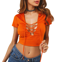 Orange Lace Up Crop Top Women Summer T-Shirts Sexy V-Neck Short Sleeve Solid Color T Shirt