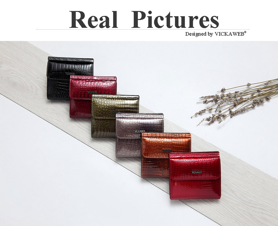 VICKAWEB Mini Wallet Women Genuine Leather Wallets Fashion Alligator Hasp Short Wallet Female Small Woman Wallets And Purses-12123