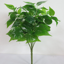7 Branches Green Imitation Fern Plastic Artificial Grass Leaves Plant for Home Wedding Decoration Arrangement NO VASE