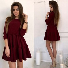 Buy Autumn Dress High Women Fashion 2017 Three Quarter Sleeve O-Neck Black Burgundy Casual Ruffles Mini A-Line Dresses for $6.92 in AliExpress store
