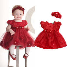 Girls Princess Dress Toddler Baby Wedding Party Baby Girls Dresses Flower Ball Gown Toddler Kid Red Dress Headband Casual Outfit